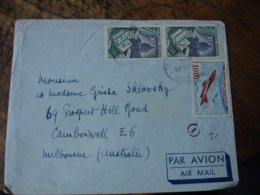 Lettre Timbre P A Poste Aerienne 100 F  Mystere 4 Plus Paire 30 F  Reliure Pour Melbourne Australie - 1921-1960: Modern Period