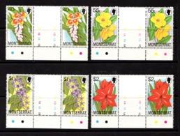 MONTSERRAT    1978    Flowers     Set  Of  4   Gutter  Pairs    MNH - Montserrat