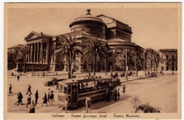 PALERMO - PIAZZA GIUSEPPE VERDI - TEATRO MASSIMO - 1946 - TRAM - Vedi Retro - Formato Piccolo - Tram