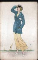 ILLUSTRATEUR  B, Femme Avec Casquette Et Pochette - Künstlerkarten