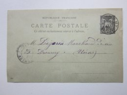 Carte Postale, Timbre Entier Type SAGE 10cts Noir Oblitéré CHAMPLEMY & PREMERY (58) 17/05/1899 Signée Jean SABOTIER - Enteros Postales