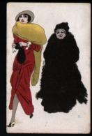 ILLUSTRATEUR  B, Femmes Avec Chapeau Voilette - Künstlerkarten