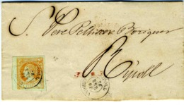 ESPAÑA 1861  4 C BORDE DE HOJA CARTA  De  RIPOLL  ENE 61  Hasta RIPOLL  LC 19 - 1850-68 Reino: Isabel II