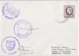 Polaire Néozélandais, N° 8 Obl. Scott-Base Le 5 FE 72 + 3 Cachets Station Vanda (Leader 71/72, Tête De Chien, Carte) - Lettres & Documents