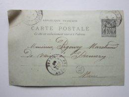 Carte Postale, Timbre Entier Type SAGE 10cts Noir Oblitéré (OR) BRINON-SUR-BEUVRON (58) 13/02/1899 Signée BETTINGER Bern - Postal Stamped Stationery