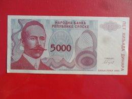 NB Republika Srpska 5000 Dinara 1993, P-152a, Price For 1 Pcs - Bosnia And Herzegovina
