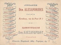 ISTANBUL KARAKÖY - JOAILLERIE DEM. ALEXANDRIDES - GALATA - KARAKEUY RUE DU PONT N° 7 - Visiting Cards