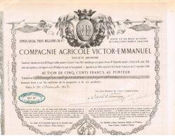 Titre Ancien - Compagnie Agricole Victor-Emmanuël - Titre De 1853 - Déco - Rare - Agricultura