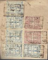 Fragment De Déclaration En Douane Avec 7 Timbres Fiscaux Estampillés Quiévrain Station (13/3/1924) - Fiscale Zegels