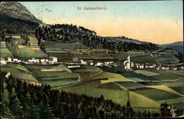 Cp San Sebastiano Di Folgaria Südtirol, Blick Auf Den Ort, Felder - Italia