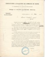 Constatation & évaluation Des Dommages De Guerre,1923,  Canton De BOURGOGNE, Witry Les Reims, 2 Scans , Frais Fr 1.65 E - Old Paper