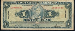NICARAGUA P99c 1 CORDOBA 1960 AVF NO P.h. ! - Nicaragua