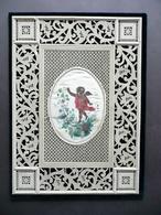 Traforo Ricamo Su Cartoncino Disegno A Olio Su Seta Ovale '800 - Altre Collezioni