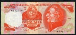 URUGUAY P53a 10.000 PESOS 1973 Serie A VF NO P.h. ! - Uruguay