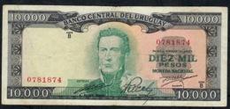 URUGUAY P51d 10.000 PESOS 1967 RARE Signature 8 Serie B FINE NO P.h. ! - Uruguay