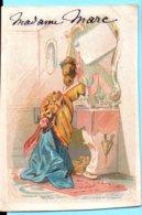 Figurina Chromo, Victorian Trade Card. Simil LIEBIG S.10. Signora Mette Lettera Nello Specchio. Segnaposto. Marque Place - Cromos
