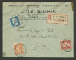 ILLE ET VILAINE / Pasteur & Semeuse / Recommandée / Recette Distribution ST ETIENNE EN COGUES 18.11.1924 Pour La VENDEE - Storia Postale