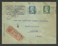 Affr. Pasteur / Enveloppe Crédit National / Recommandée / PARIS 23.09.1924 Pour CATILLON - NORD - Marcophilie (Lettres)