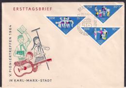 DDR - 1964 - ERSTTAG - Pioniertreffen In Karl Marx Stadt - FDC: Briefe