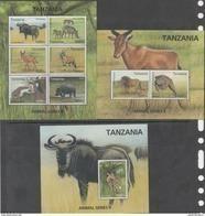 TANZANIA, 2017, MNH, ANIMAL SERIES II, LIONS, CHEETAHS, HIPPOS, GAZELLES, 2 SHEETLETS + S/SHEET, SCARCE - Félins