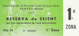 TICKET - ENTRADA / DIJOUS SANT VERGES 1991 - Holy Thursday - Tickets - Entradas