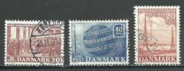 Danemark YT N°334-335-336 Constitution - U.P.U. - Radio-diffusion D'état Oblitéré ° - Denmark