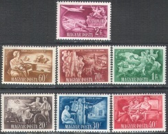 H0218 ✅ Five-year Plan Medicine Roentgen Physik Tractor Stalin Bridge Telegraf Cars 1951 Hungary 7v Set MNH ** 6ME - Unused Stamps