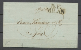 1812 Lettre B.F./MILAN, Frappe Rare, Superbe X4910 - Italie
