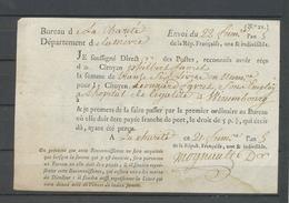 An 5 POSTES De La Charité, Reçu De 36 Livres, Document Rare, Superbe X4931 - Postmark Collection (Covers)