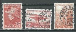 Danemark YT N°366-371-377 Soren Kierkegaard - J.C.H.Ellehammer - Ecole Vétérinaire Et D'agriculture Oblitéré ° - Denmark