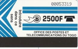 TARJETA DE TOGO DE 2500 FRANCS - Togo