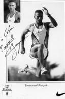 CPM - M - SPORT - ATHLETISME - PHOTO DEDICACEE DU SAUTEUR EN LONGUEUR FRANCAIS EMMANUEL BANGUE - 4eme AUX J.O. D'ATLANTA - Athletics