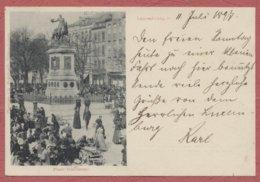 Luxembourg Ville : Place Guillaume Jour De Marché / Editeur Ch. Bernhoeft / Cachets Luxembourg Gare De 1897 - Luxemburg - Town