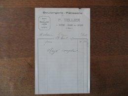 NOTRE-DAME DE LIESSE P. TELLIER BOULAGERIE-PATISSERIE FACTURE DU 28 AVRIL 1927 - Frankreich