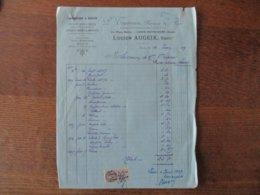 LIESSE-NOTRE-DAME LUCIEN AUGEIX PHARMACIEN LABORATOIRE A VAPEUR 35 PLACE BAILLY FACTURE DU 10 JUIN  1919 - Frankreich