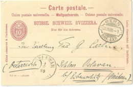 PK 28  Bern - Oslavan Mähren  (Rasierklingenstempel)           1899 - Entiers Postaux