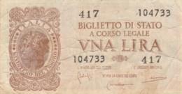 BIGLIETTO DI STATO ITALIA UNA LIRA VF (VX1027 - [ 1] …-1946 : Kingdom