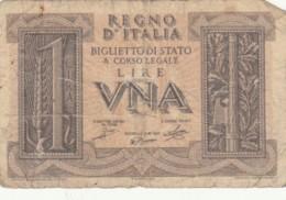 BANCONOTA ITALIA LIRE UNA VF (VX1028 - [ 1] …-1946 : Regno