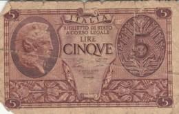 BANCONOTA ITALIA LIRE 5 VF (VX1031 - Italia – 5 Lire