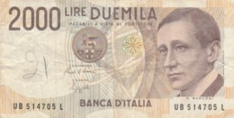 BANCONOTA ITALIA LIRE 2000 VF (VX1039 - [ 2] 1946-… : Républic