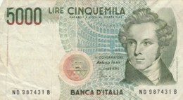 BANCONOTA ITALIA LIRE 5000 VF (VX1041 - [ 2] 1946-… : Republiek