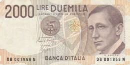 BANCONOTA ITALIA LIRE 2000 VF (VX1042 - [ 2] 1946-… : Repubblica