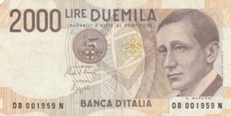BANCONOTA ITALIA LIRE 2000 VF (VX1042 - [ 2] 1946-… : Republiek