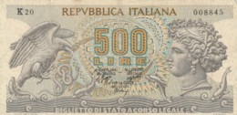 BANCONOTA ITALIA LIRE 500 VF (VX1048 - [ 2] 1946-… : Républic