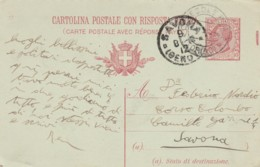 INTERO POSTALE 1917 C.10 CON RISPOSTA TIMBRO SAVONA TORINO (VX1247 - 1900-44 Vittorio Emanuele III