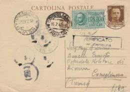 INTERO POSTALE C.30+1,25 ESPRESSO TIMBRO CONEGLIANO TREVISO (VX1416 - 1900-44 Vittorio Emanuele III