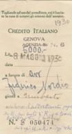RICEVUTA ASSEGNO CIRCOLARE BANCA NAZIONALE DI CREDITO 1930 (VX1545 - Italia
