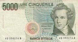 BANCONOTA ITALIA LIRE 5000 (VX1558 - [ 2] 1946-… : Républic