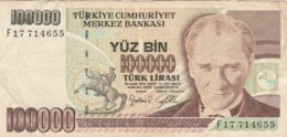 BANCONOTA TURCHIA 100000 LIRA VF (VX1575 - Turkije