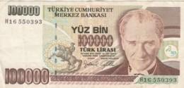 BANCONOTA TURCHIA 100000 LIRA VF (VX1578 - Turchia